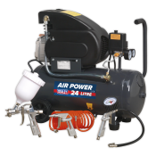 Compressor 24ltr Direct Drive 2hp with 4pc Air Accessory Kit  SAC2420EPK